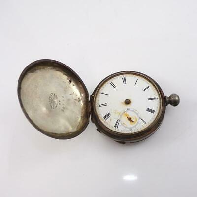 Antique 1877 18s Waltham Broadway Coin Sterling Silver Pocket Watch LFK3