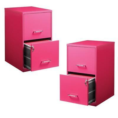 Value Pack Set Of 2 2 Drawer File Cabinet In Pink