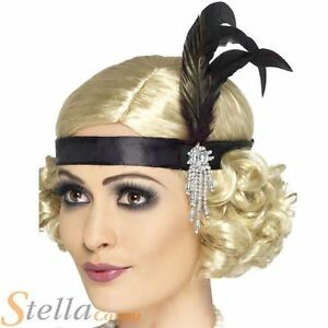 Ladies Black 20s 30s Charleston Feather Headband Fancy Dress Costume Flapper