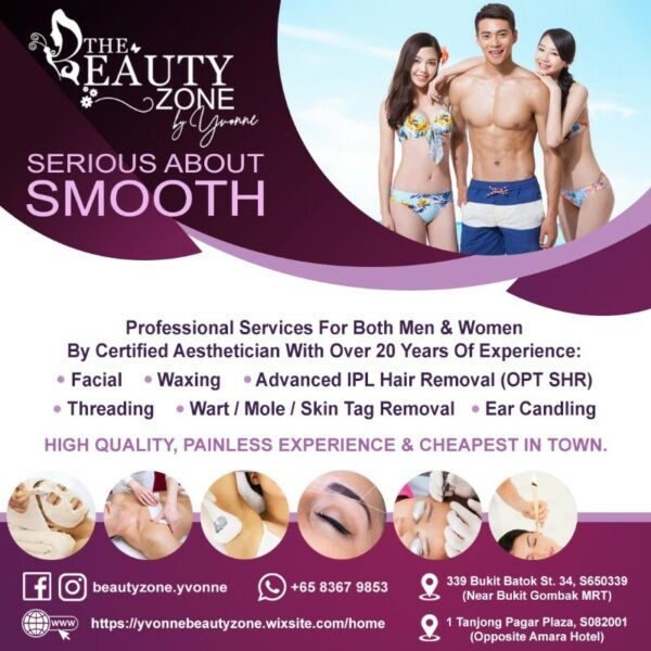 Singapore's Cheapest Facial, Waxing, IPL, Wart/Mole/Skin Tag Removal, Threading & Ear Candling