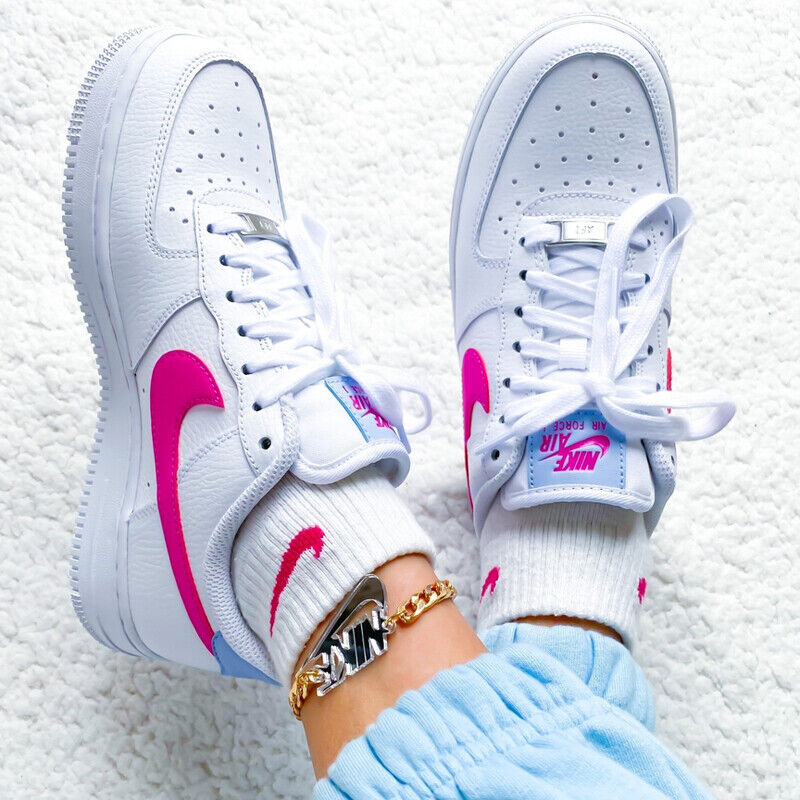 Details about Nike Womens Wmns Air Force 1 07 AF1 White Fire Pink Blue  Casual Shoes CT4328-101
