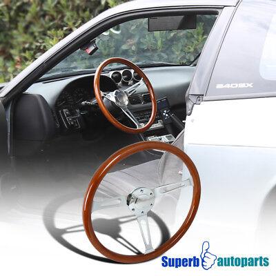 Vintage Style Wood Grain Classic 6 Hole Steering Wheel Aluminum 370mm