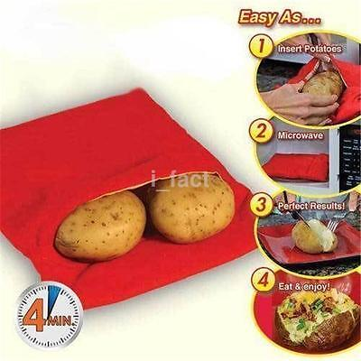 1PCS Corn Microwave Baked Potato Cooking Cooker Bag Washable Reusable Red CA