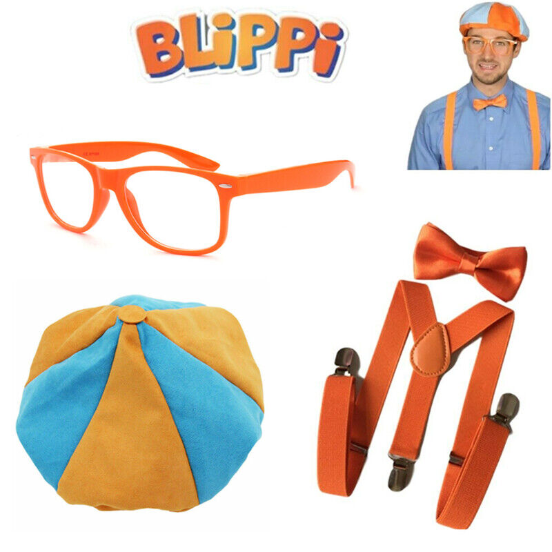 TV Show Blippi Kids Cosplay Tie Bow Trousers Strap Braces Pants Hat Glasses Hot