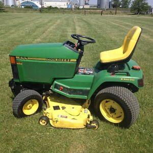 """John Deere 455 Diesel 4 wheel steer lawn tractor with 54"""" cut"""