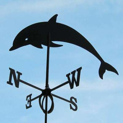 Large Black Steel Dolphin Weathervane