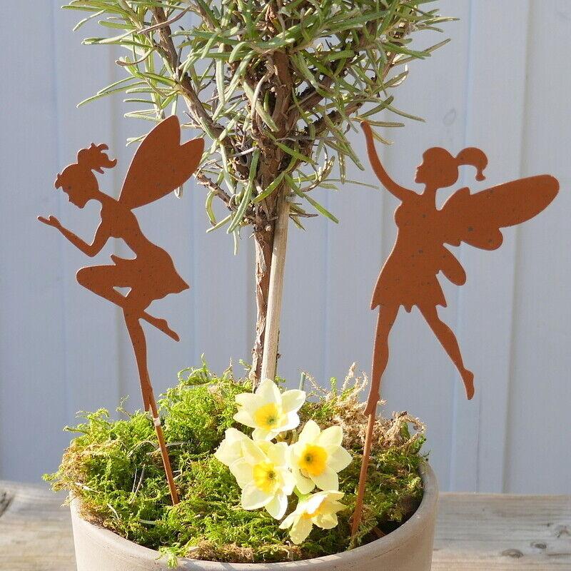 Feen Beetstecker, 2 Modelle Elfe Blumenkind Garten Figur Deko Edelrost Eisendeko