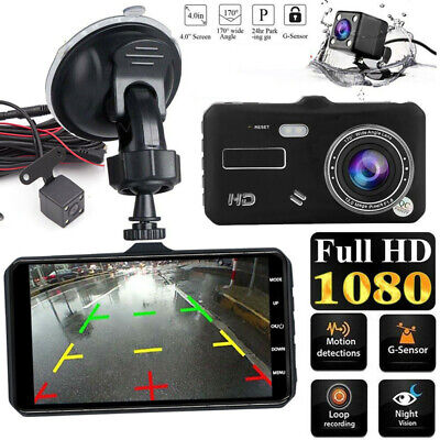 4 inch HD 1080P Dual Lens Touch Screen Dash Cam Front Rear Camera Night Vision