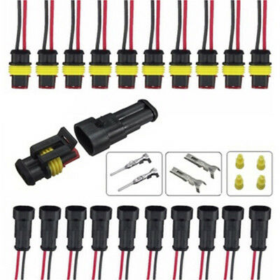 5x 2pin Car Waterproof Electrical Connector Plug With Wire Awg Marine Black H