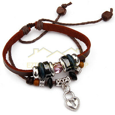 Fashion Tribal Cats Eye Hemp leather Cuff Bracelet Key Pendant beads Jewelry Red