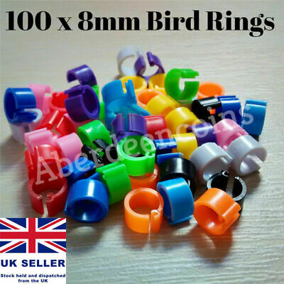 100 x Poultry Clip Leg Rings 8mm Chicken Hatching Pigeon Pheasant Bird Dove Duck