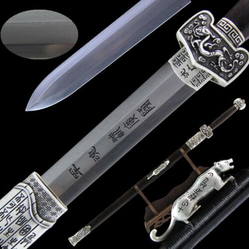 Double-edged Military God sword Folded Steel blade sharp, Silver Fittings #006