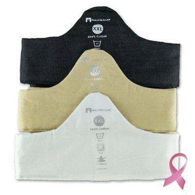 100% Cotton Bra Liner 3-Pack - Black / White / Beige - XX-Large 2