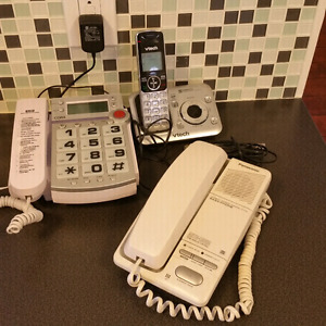 3 phones for sale V Tech, Cora and Panasonic w/features