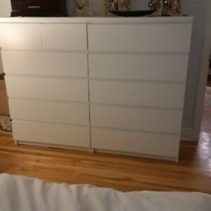 2 commodes MALM - Ikea - blanche 6 tirois