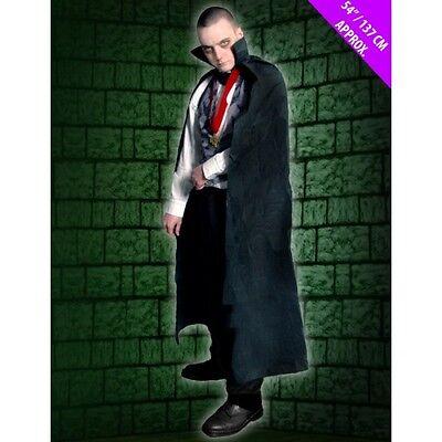 HALLOWEEN VAMPIRE DRACULA LONG BLACK CAPE BUDGET ADULT FANCY DRESS COSTUME - Budget Halloween Costumes