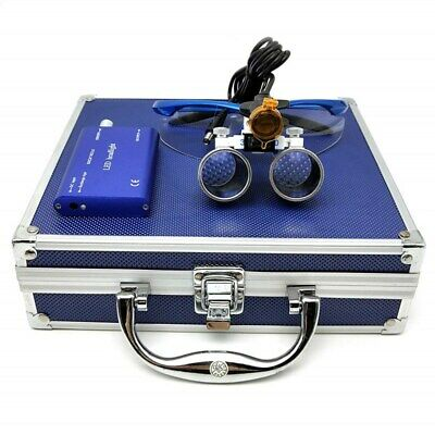 Dental 3.5x Binocular Loupes 3w Led Head Light With Filter Aluminum Box Blue
