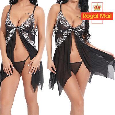 Plus Size Women Sexy Lace Lingerie Night Dress Babydoll Sleepwear Nightwear Sets