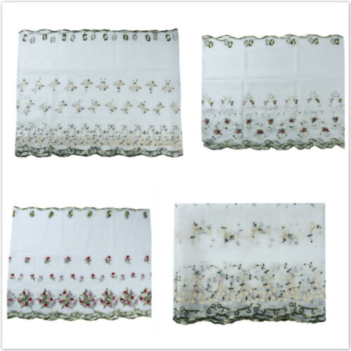 Embroidered Floral Sheer Voile Curtains For Living Room Kitc