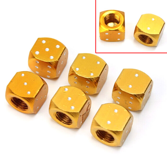 2 Pcs Gold Tone Dice Bike Car Truck Tire Wheel Stem Air Valve Dust Caps Set MDAU