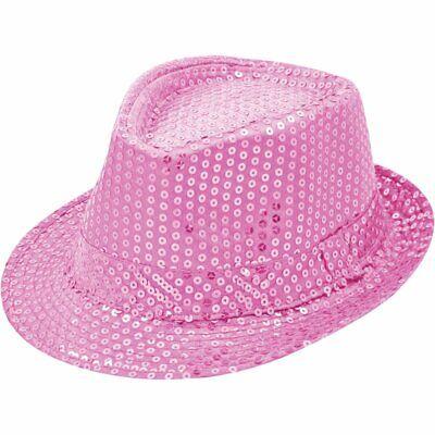 Pailletten Hut Rosa Herren Damen Kinder Karneval Fasching Kostüm Trilby Fedora ()