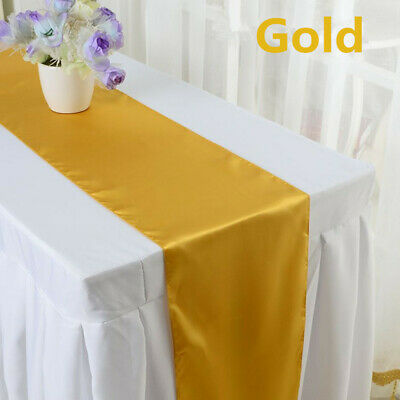 Black & Gold Table Decorations (Satin Table Runner for Wedding Banquet Decorations White Black Gold Table)