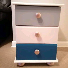 Upcycled bedside table pink/grey/navy/rose gold