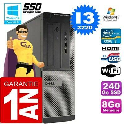 PC DELL 3010 DT Core I3-3220 Ram 8Go Disque 240 Go SSD Wifi W7