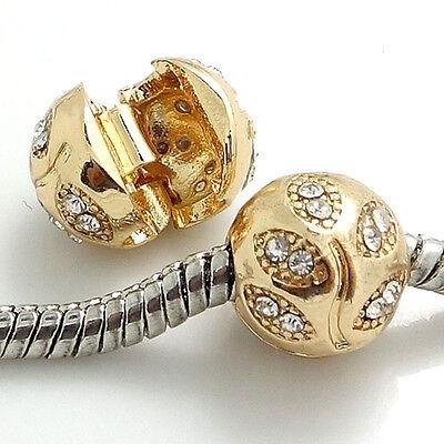 1pcs Gold Buckle European Charm Beads Fit 925 Necklace Bracelet Chain SH420