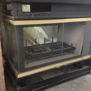 Three way gas fire place