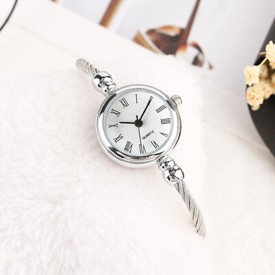Elegant Wire Stainless Steel Band Bracelet Women Lady Analog Quartz Wrist Watch Analog Stainless Steel Bracelet