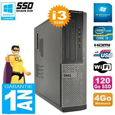 PC DELL 3010 DT Core I3-3220 Ram 4Go Disque 120Go SSD Graveur DVD Wifi W7