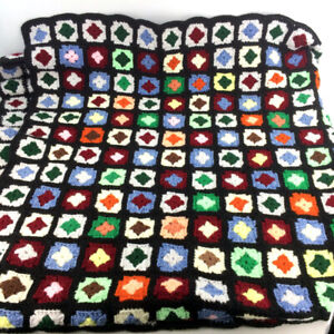 Vintage Afghan Blanket Granny Square Hand Crochet Throw Colorful