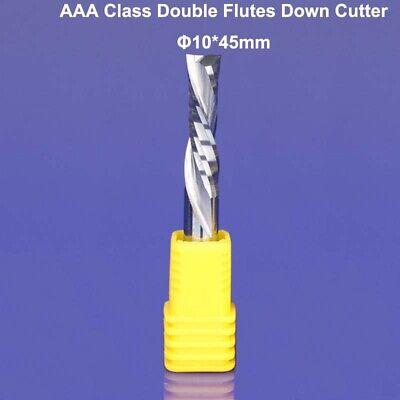 1pc Down Cut Two Double Flute Spiral Left-handed Cnc Wood Bits Shk 10mm Cel 45mm