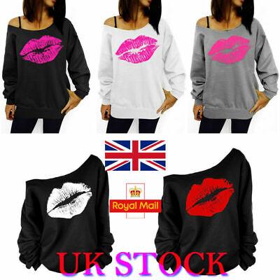 UK Womens Off Shoulder Pullover Jumper Lip Printed Loose Sweatshirt Coats Tops