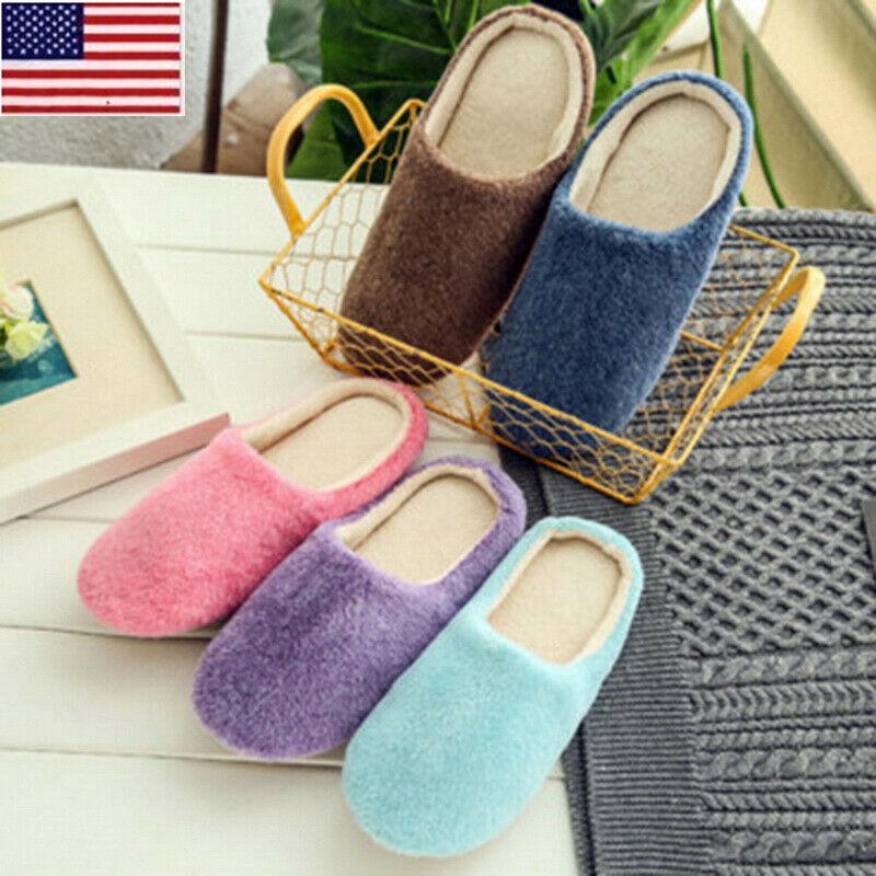 US Womens Men Winter Warm Soft Plush Non Slip Sole Slippers Home Shoes Size OCCA