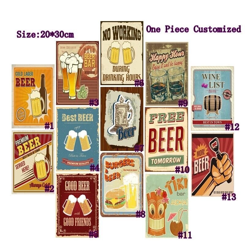 Cold Beer Vintage Poster Metal Pub Bar Wall Plaque Retro Tin Signs