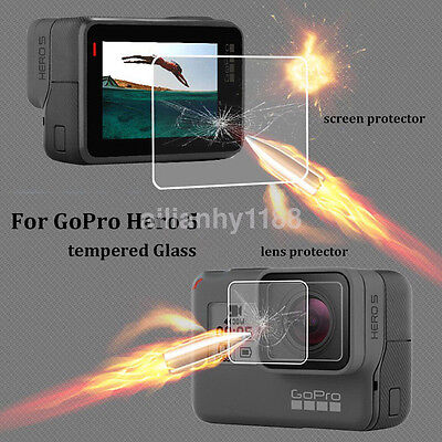 Tempered Glass Screen Film Portector Set For GoPro Hero 5 Camera Accessories US