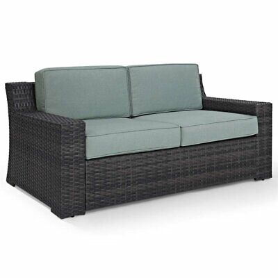Pemberly Row Wicker Patio Loveseat in Brown and Mist ()