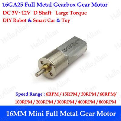 16mm Dc 3v12v Mini Full Metal Gearbox Gear Motor Slow Speed Reduction Robot Car
