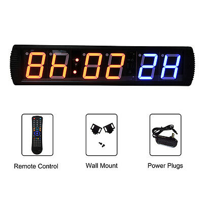 Gymnastic Interval Timer LED 6-Digit Wall Clock Remote WOD Exercise Support