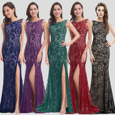 Ever-Pretty US Long Bridesmaid Dress Mermaid Side Slit Evening Prom Gown -