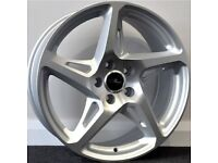 "19""River R4 Silver Alloy Wheels.Suit Audi A3,VW Caddy,Golf,Jetta, Passat,Seat Leon 5x112"