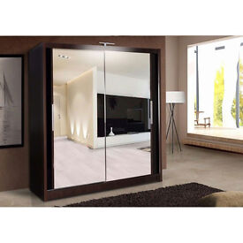 EXCLUSIVE DESIGN CHICAGO 203 CM SLIDING MIRRORS WARDROBE WITH LED LIGHT AVAILABLE IN 5-AWESOME CLR