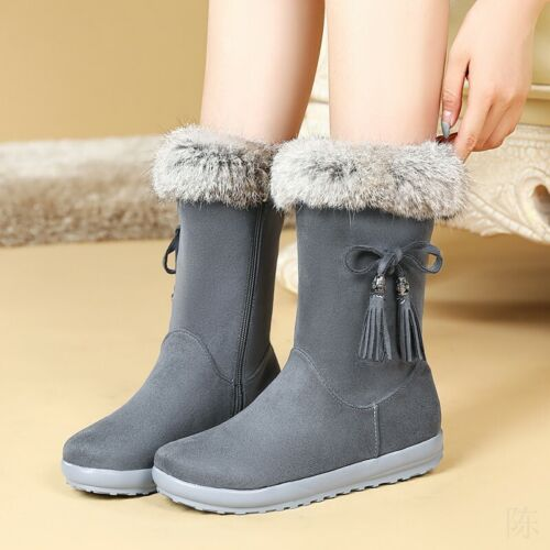 Women Fur Lined Warm Snow Boots Ladies Chunky Flat Mid Calf Winter Booties Shoes