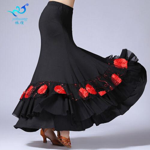 Latin Salsa Flamenco Ballroom Dance Skirt Modern Tango Waltz Dress Black