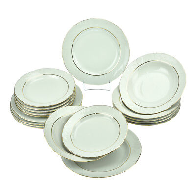 Round Porcelain Dinner Set 18 Piece Ceramic Dinnerware Gold Rimmed Service Plate Service Plate