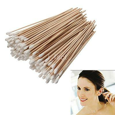 Salon Extra Long Cotton Buds applicators 150mm Pack of 100 swabs cleaning wood