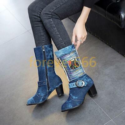 Denim Fashion Stiefel (Europa Denim Schuhe Damen Stiefel Blockabsatz Cowboystiefel Schnalle Fashion )