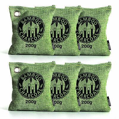 Air Purifying Bag Bamboo Charcoal Bag Air Freshener Odor Deodorizer 6 x 200g